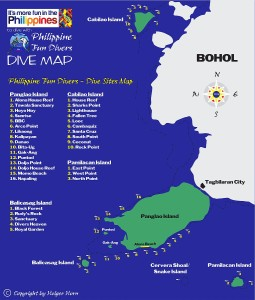 Dive sites map Philippine Fun Divers Alona Beach Panglao Bohol Philippines