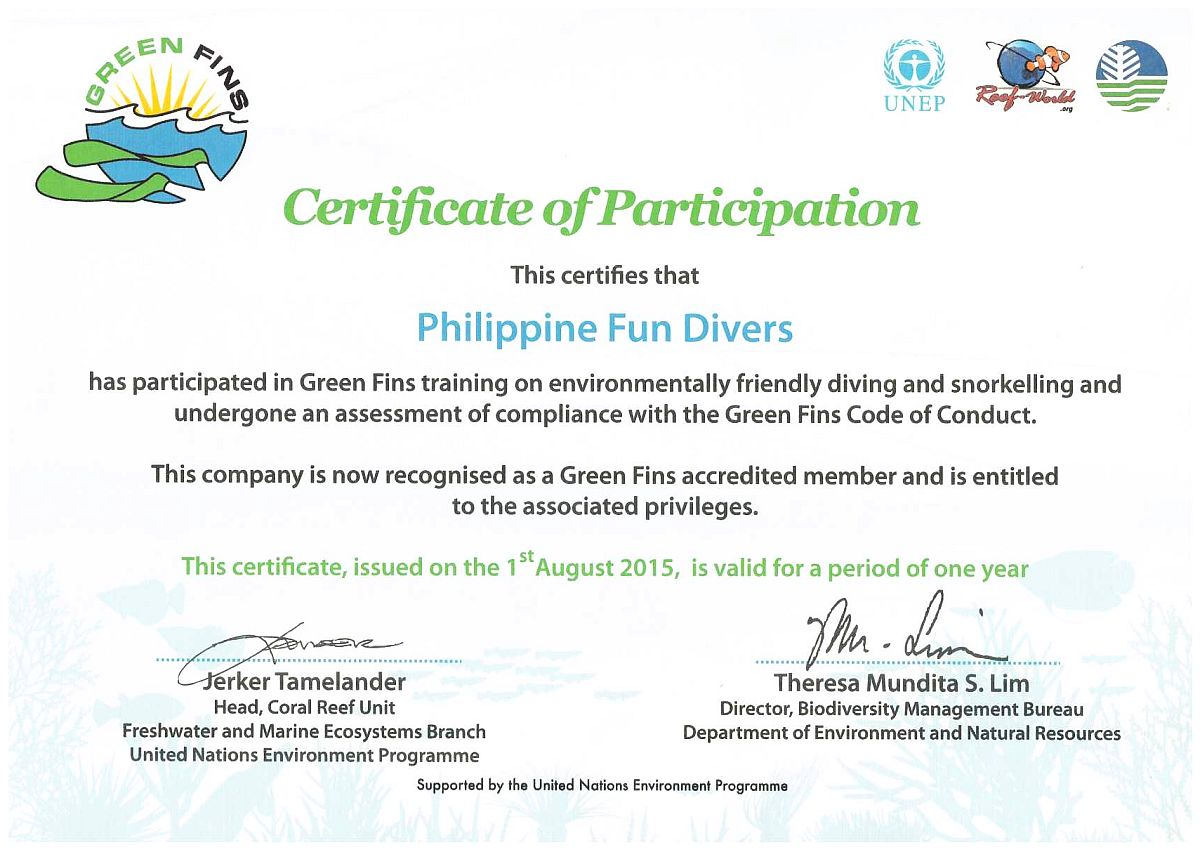 Greenfins Philippine Fun Divers Alona Beach Panglao Bohol Philippines