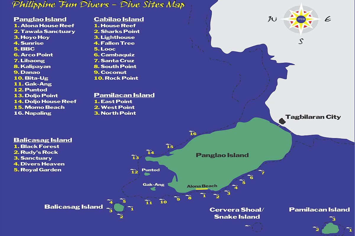Philippine Fun Divers dive sites map-1200