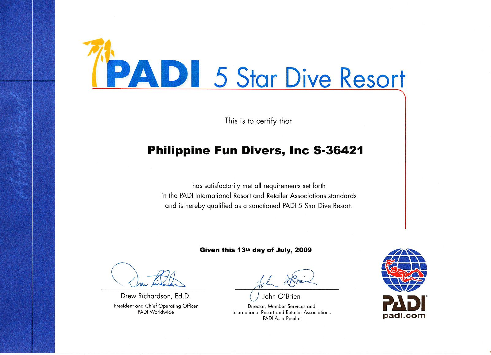 Scuba diving alona beach panglao island bohol philippines padi 5 star certificate xflitez Gallery
